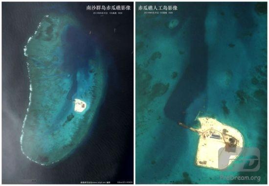 资料图:美国GoogleEarth网公布中国海军赤瓜礁人工岛施工影像,拍摄时间2014年6月30日。(图片来源:南海研究论坛)
