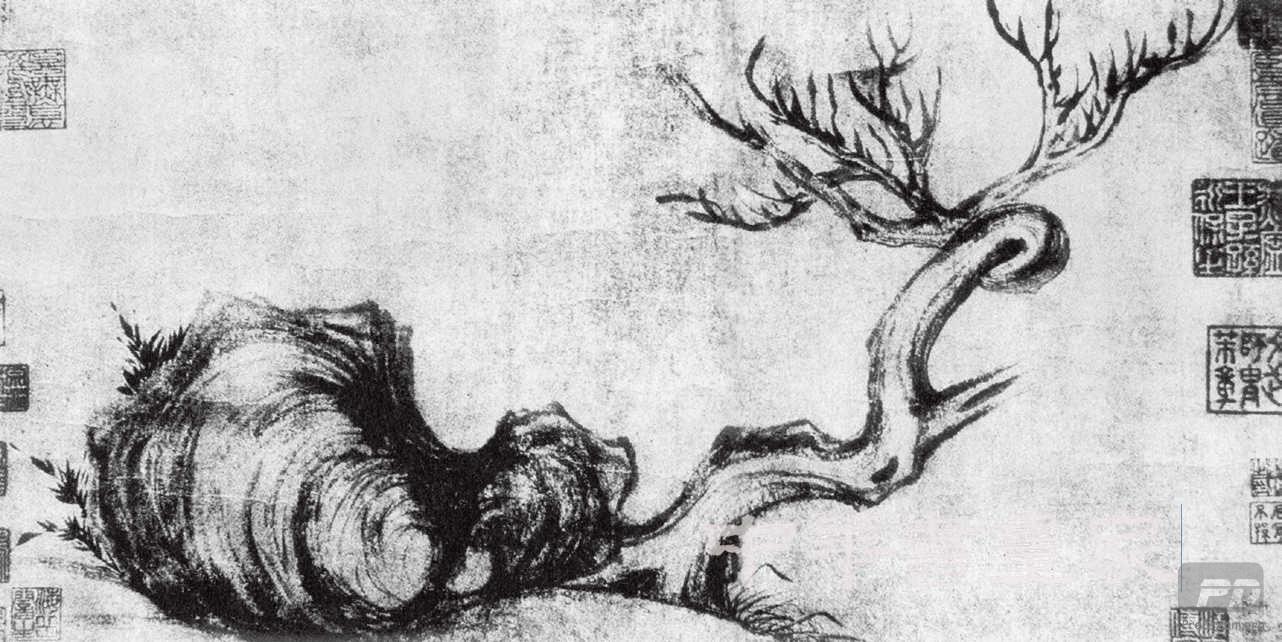 苏轼《枯木怪石图》水墨纸本手卷